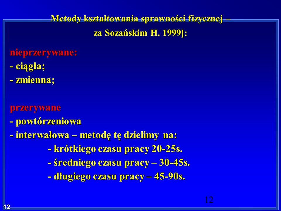 Metody kształtowania sprawności fizycznej – za Sozańskim H. 1999]: